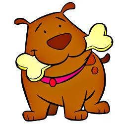 Раскраска Собака с косточкой