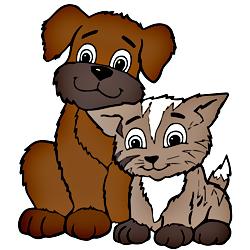 Раскраска Котенок и щенок