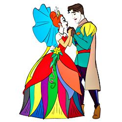 Раскраска Тиана и принц