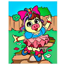 Раскраска Поросенк танцующий