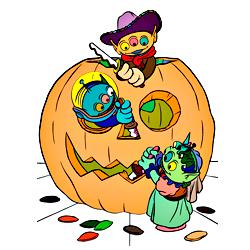 Раскраска Пришельцы на Хэллоуин
